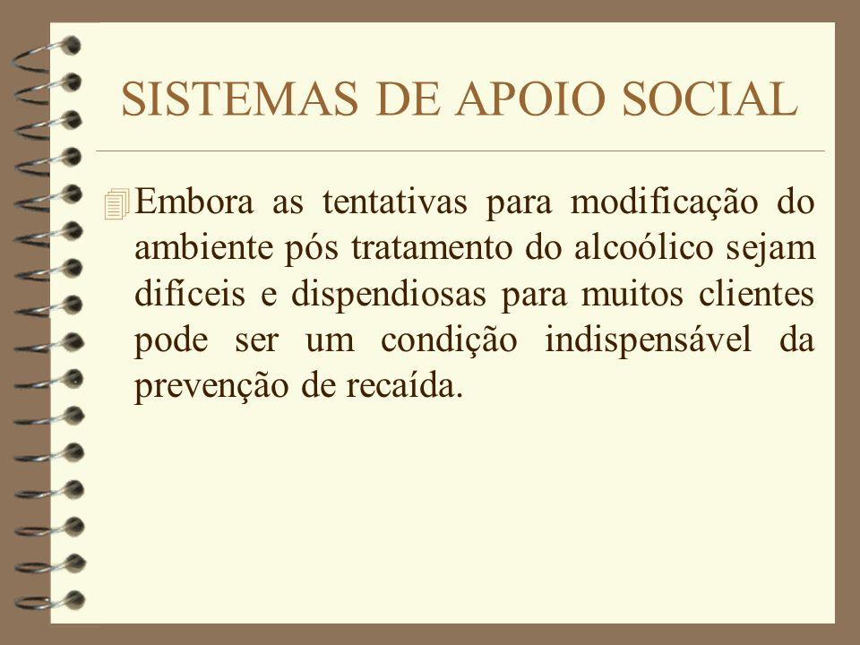 SISTEMAS DE APOIO SOCIAL 4 Embora as tentativas para modificação do ambiente pós tratamento do alcoólico sejam difíceis e dispendiosas para muitos cli