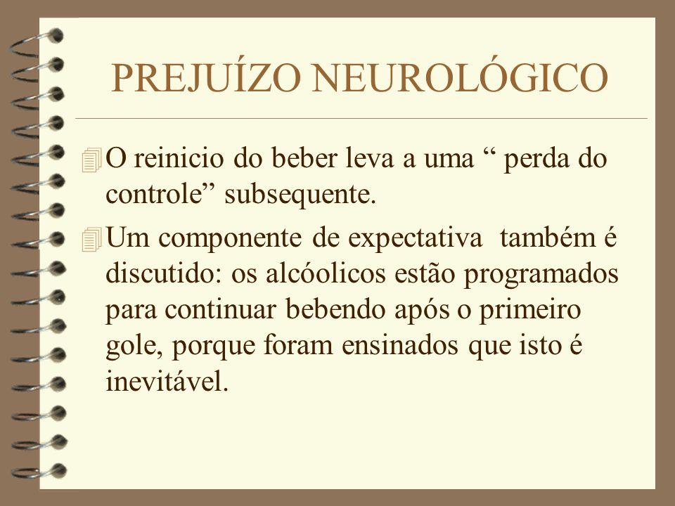 PREJUÍZO NEUROLÓGICO 4 O reinicio do beber leva a uma perda do controle subsequente. 4 Um componente de expectativa também é discutido: os alcóolicos