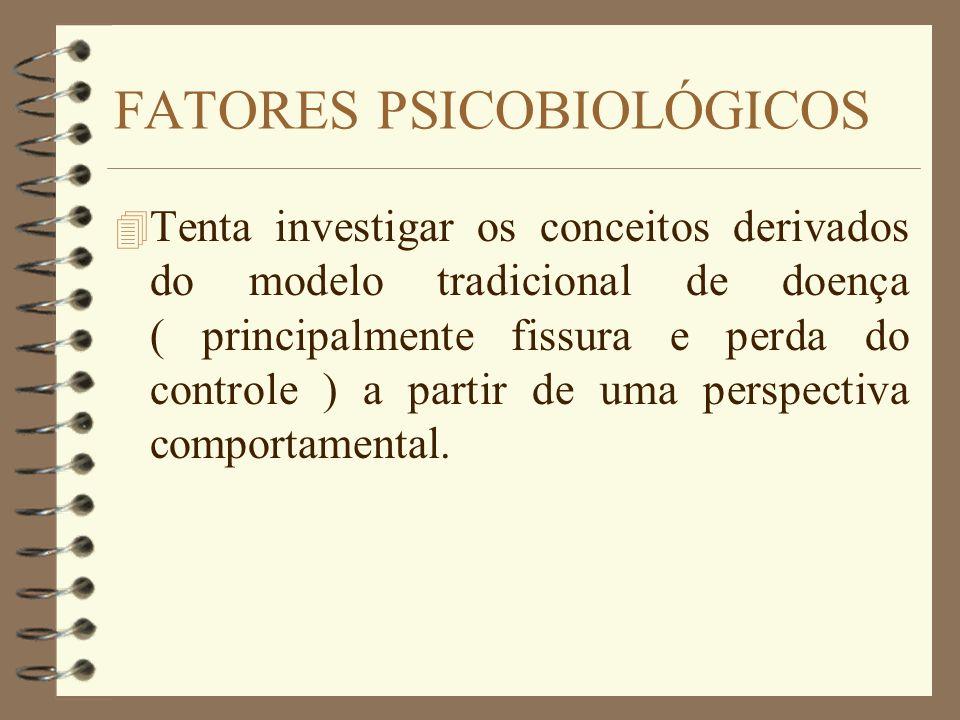 FATORES PSICOBIOLÓGICOS 4 Tenta investigar os conceitos derivados do modelo tradicional de doença ( principalmente fissura e perda do controle ) a par