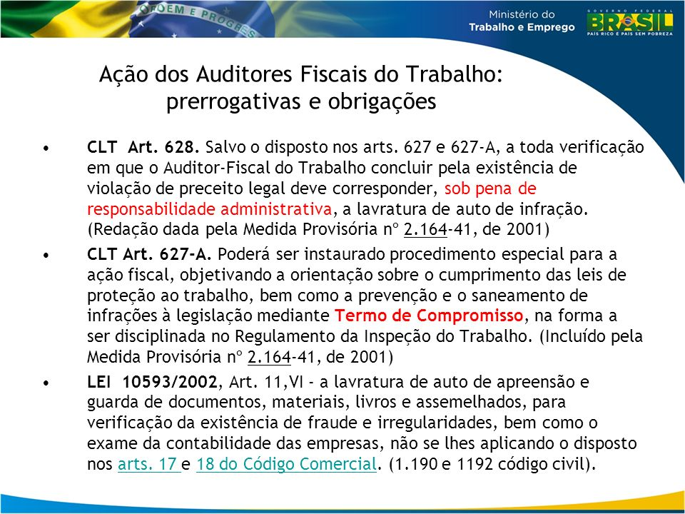 Ação dos Auditores Fiscais do Trabalho: prerrogativas e obrigações CLT Art. 628. Salvo o disposto nos arts. 627 e 627-A, a toda verificação em que o A