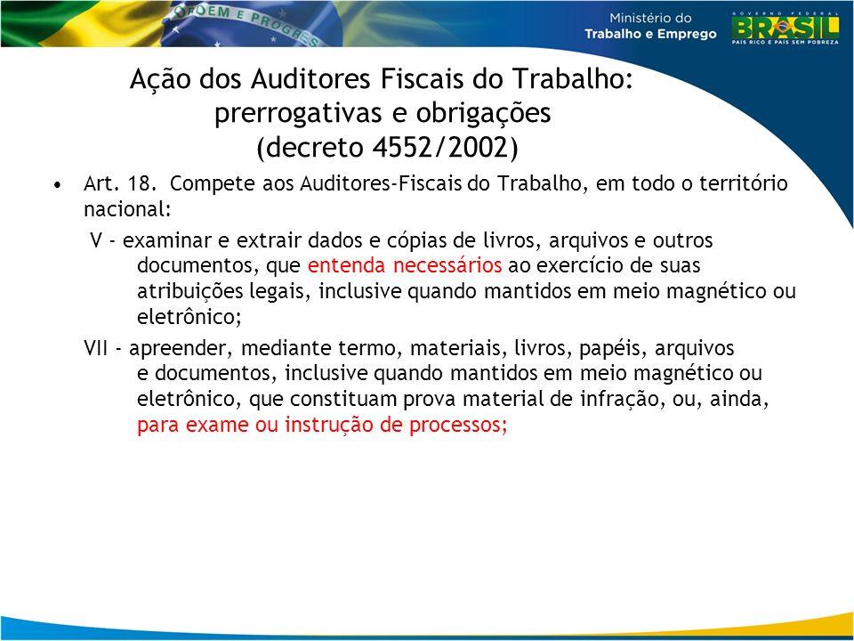 Ação dos Auditores Fiscais do Trabalho: prerrogativas e obrigações (decreto 4552/2002) Art. 18. Compete aos Auditores-Fiscais do Trabalho, em todo o t
