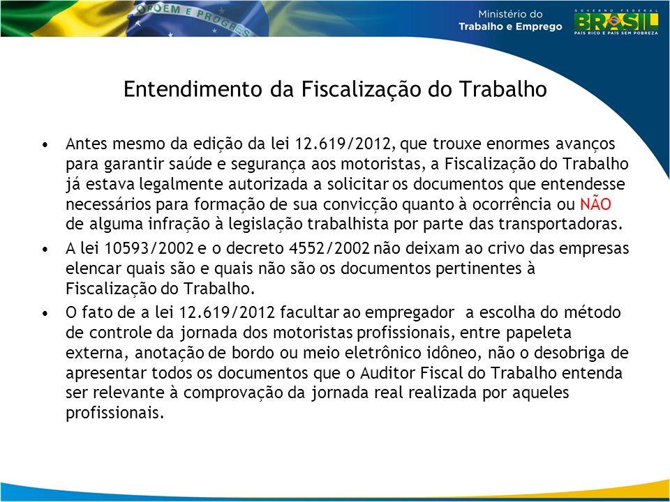 Entendimento da Fiscalização do Trabalho Antes mesmo da edição da lei 12.619/2012, que trouxe enormes avanços para garantir saúde e segurança aos moto