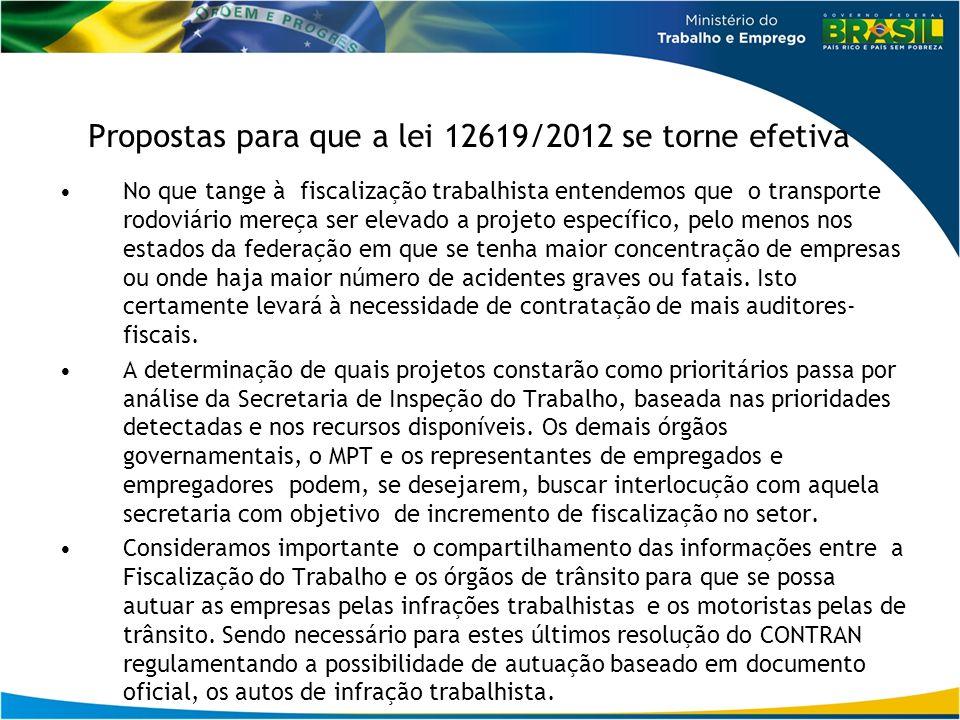 Propostas para que a lei 12619/2012 se torne efetiva No que tange à fiscalização trabalhista entendemos que o transporte rodoviário mereça ser elevado