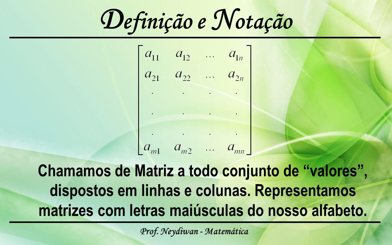 Prof. Neydiwan - Matemática D efinição e N otação Chamamos de Matriz a todo conjunto de valores, dispostos em linhas e colunas. Representamos matrizes