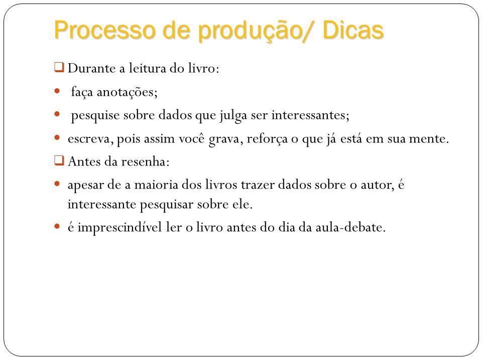 Processo de produção/ Dicas Durante a leitura do livro: faça anotações; pesquise sobre dados que julga ser interessantes; escreva, pois assim você gra