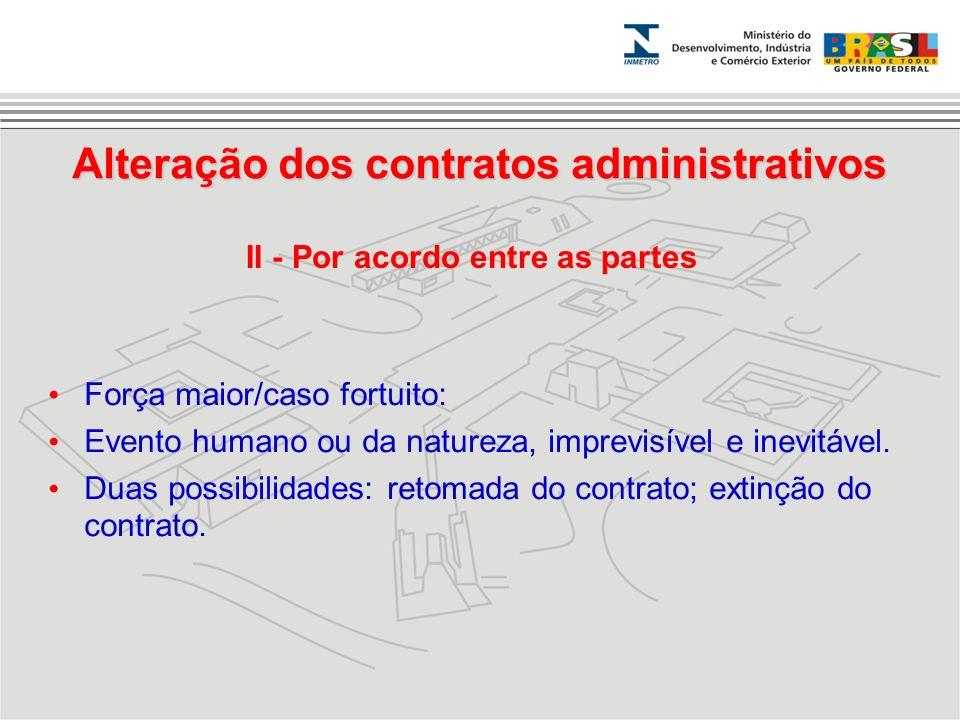 Força maior/caso fortuito: Evento humano ou da natureza, imprevisível e inevitável. Duas possibilidades: retomada do contrato; extinção do contrato. A