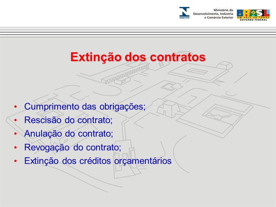 Cumprimento das obrigações; Rescisão do contrato; Anulação do contrato; Revogação do contrato; Extinção dos créditos orçamentários Extinção dos contra