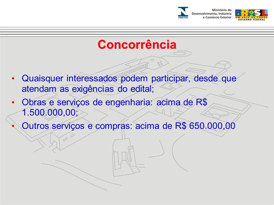 Concorrência Quaisquer interessados podem participar, desde que atendam as exigências do edital; Obras e serviços de engenharia: acima de R$ 1.500.000