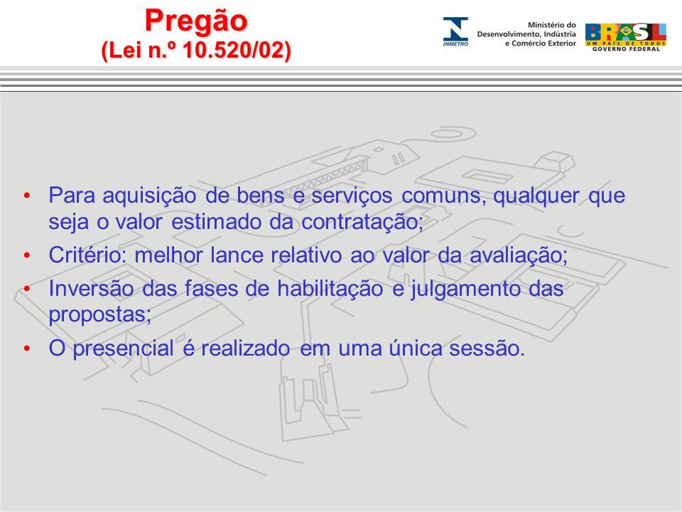 Pregão (Lei n.º 10.520/02) Para aquisição de bens e serviços comuns, qualquer que seja o valor estimado da contratação; Critério: melhor lance relativ