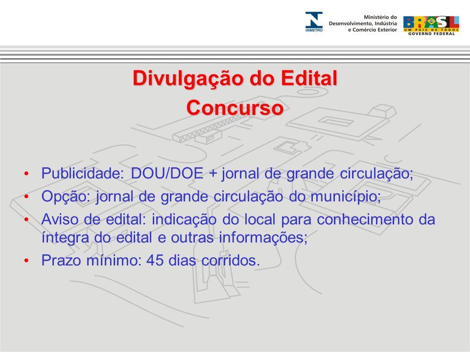 Concurso Publicidade: DOU/DOE + jornal de grande circulação; Opção: jornal de grande circulação do município; Aviso de edital: indicação do local para