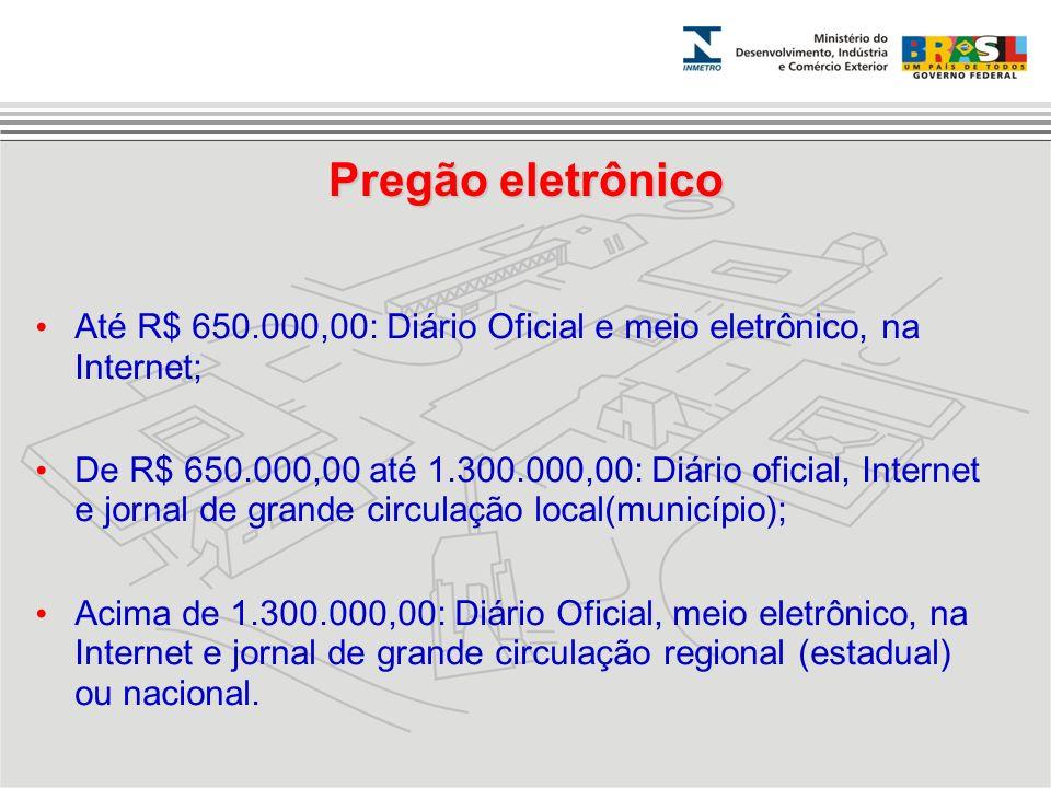Pregão eletrônico Até R$ 650.000,00: Diário Oficial e meio eletrônico, na Internet; De R$ 650.000,00 até 1.300.000,00: Diário oficial, Internet e jorn