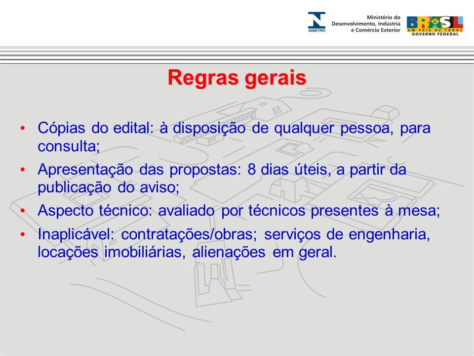 Regras gerais Cópias do edital: à disposição de qualquer pessoa, para consulta; Apresentação das propostas: 8 dias úteis, a partir da publicação do av