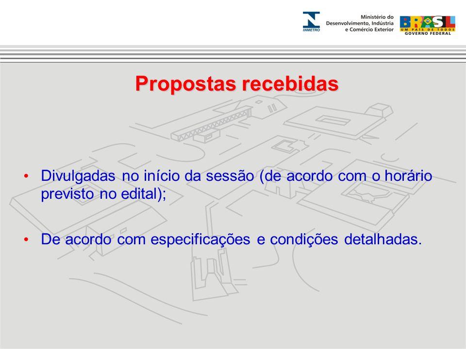Propostas recebidas Divulgadas no início da sessão (de acordo com o horário previsto no edital); De acordo com especificações e condições detalhadas.