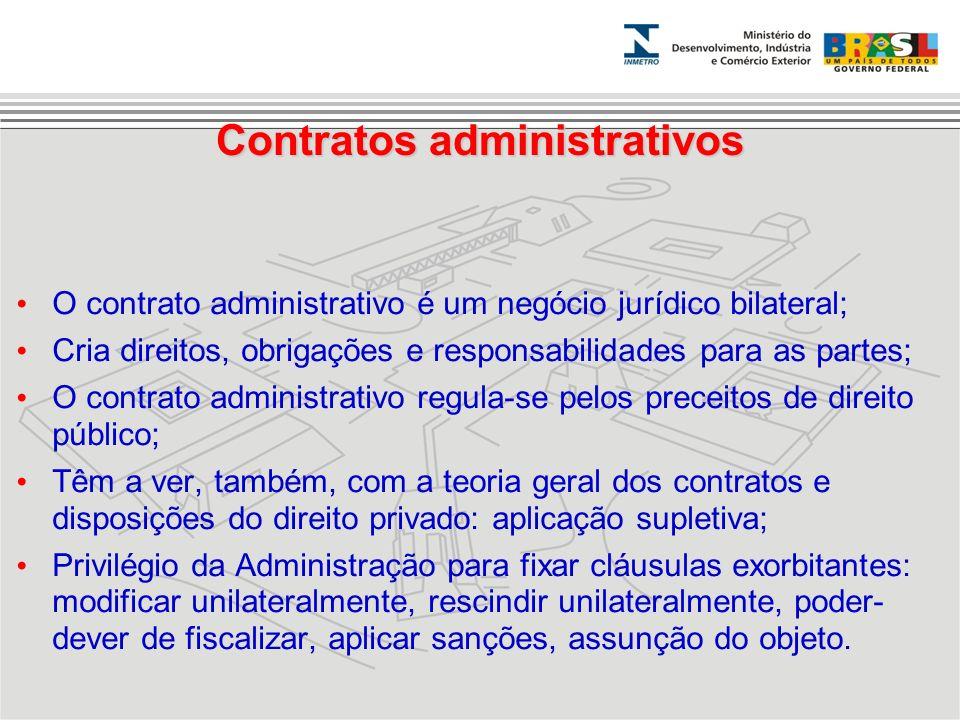 Contratos administrativos O contrato administrativo é um negócio jurídico bilateral; Cria direitos, obrigações e responsabilidades para as partes; O c