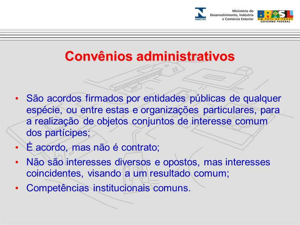 São acordos firmados por entidades públicas de qualquer espécie, ou entre estas e organizações particulares, para a realização de objetos conjuntos de