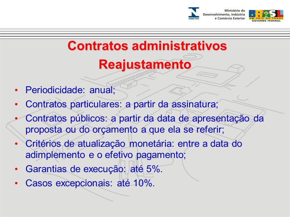 Periodicidade: anual; Contratos particulares: a partir da assinatura; Contratos públicos: a partir da data de apresentação da proposta ou do orçamento