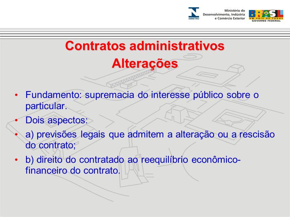 Fundamento: supremacia do interesse público sobre o particular. Dois aspectos: a) previsões legais que admitem a alteração ou a rescisão do contrato;