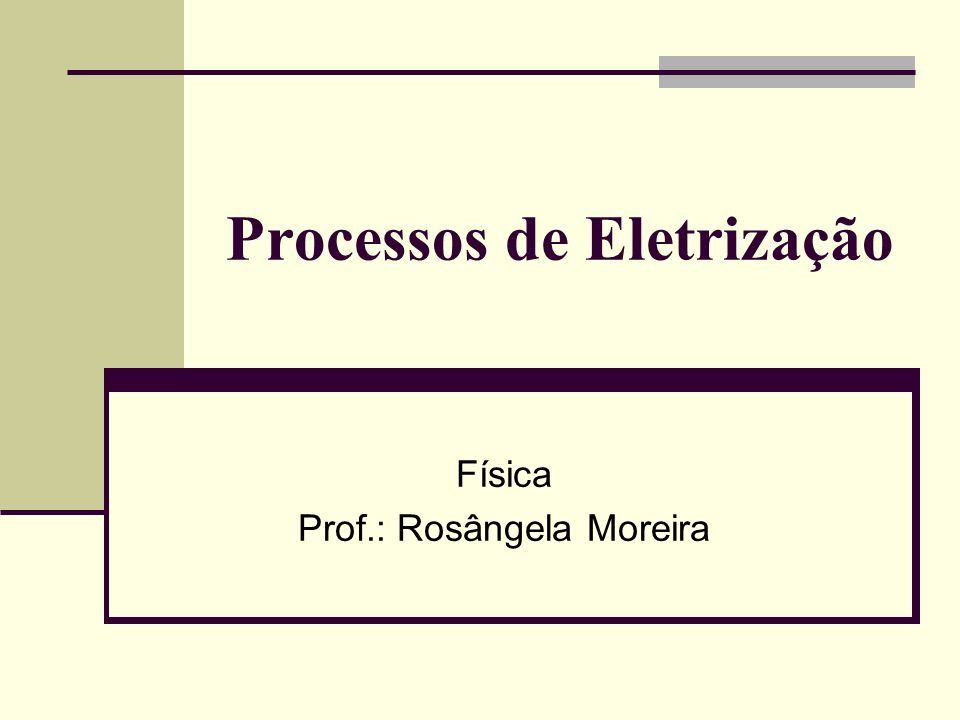 Processos de Eletrização Física Prof.: Rosângela Moreira