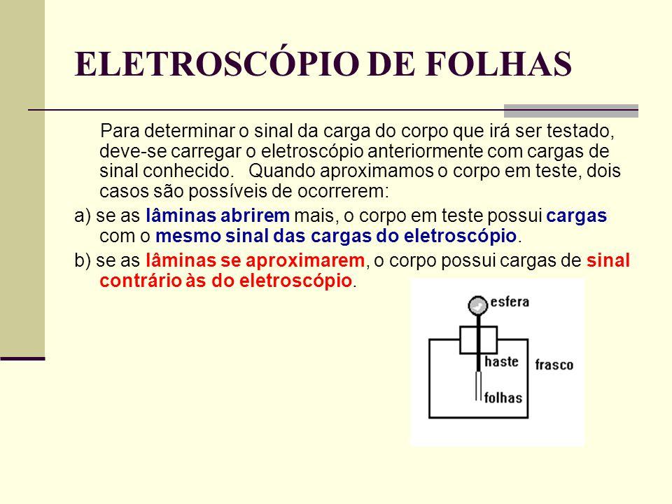 ELETROSCÓPIO DE FOLHAS Para determinar o sinal da carga do corpo que irá ser testado, deve-se carregar o eletroscópio anteriormente com cargas de sina