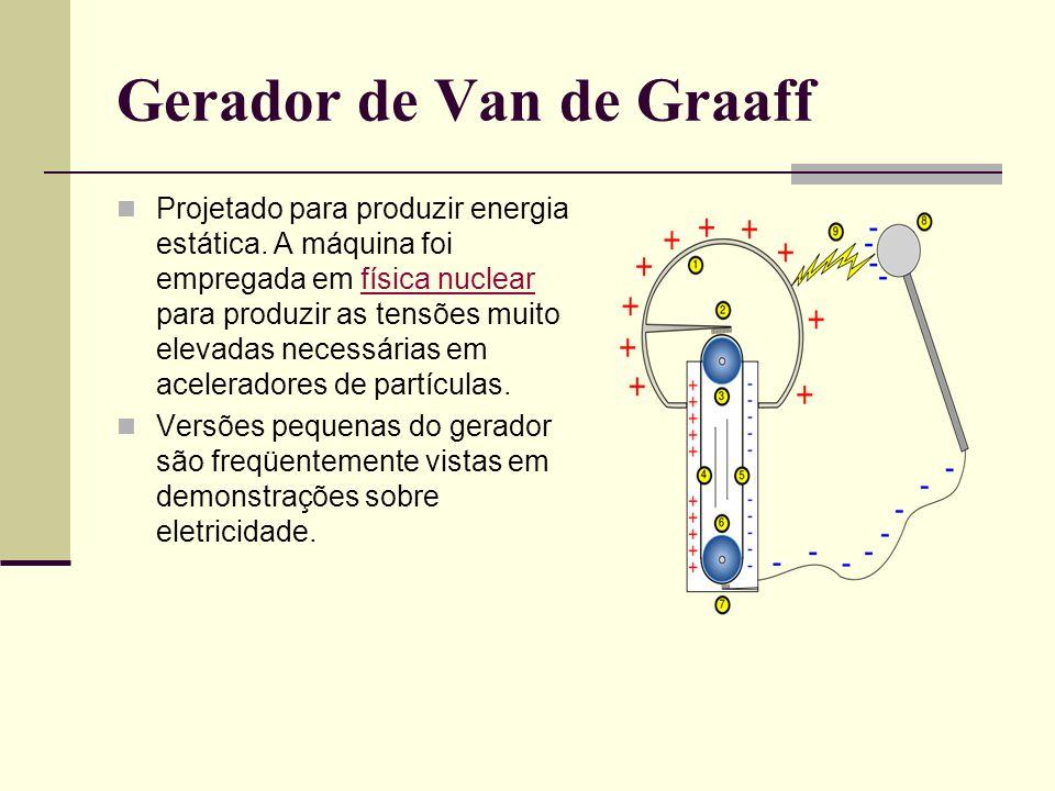 Gerador de Van de Graaff Projetado para produzir energia estática. A máquina foi empregada em física nuclear para produzir as tensões muito elevadas n