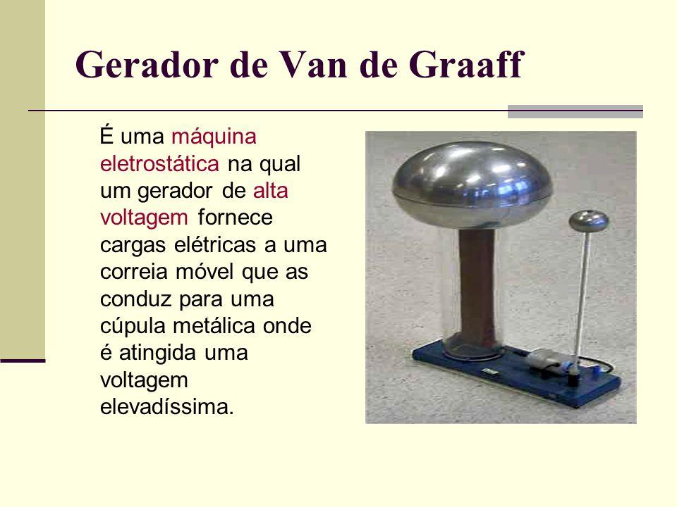 Gerador de Van de Graaff É uma máquina eletrostática na qual um gerador de alta voltagem fornece cargas elétricas a uma correia móvel que as conduz pa