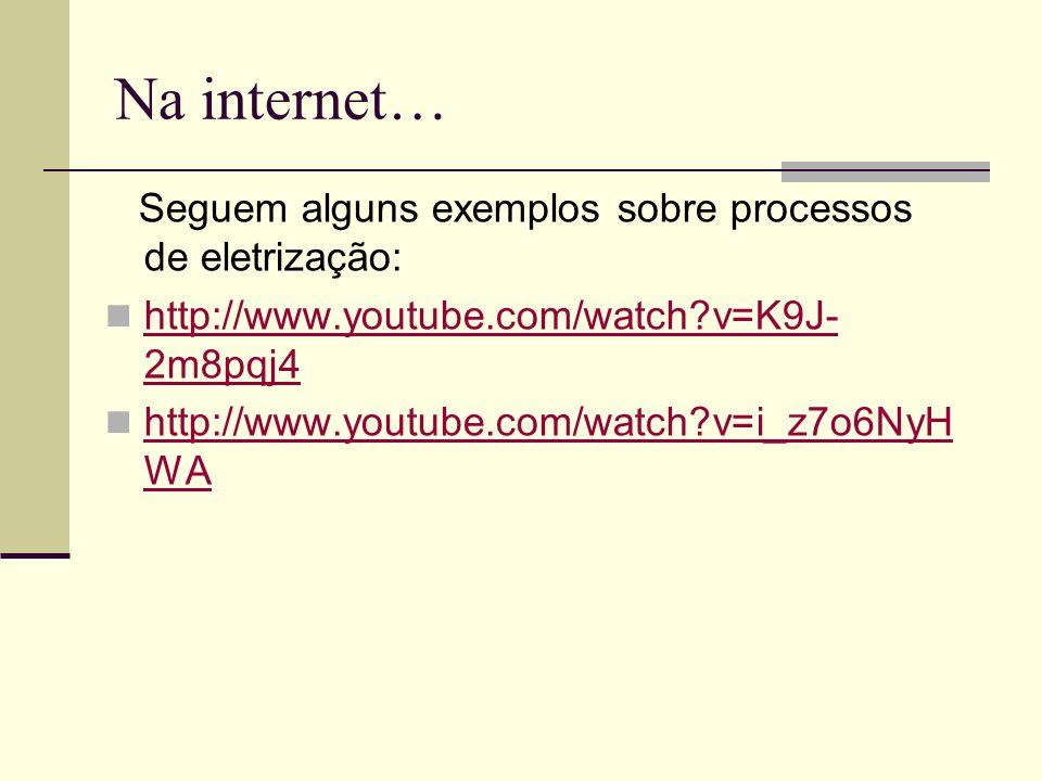 Na internet… Seguem alguns exemplos sobre processos de eletrização: http://www.youtube.com/watch?v=K9J- 2m8pqj4 http://www.youtube.com/watch?v=K9J- 2m