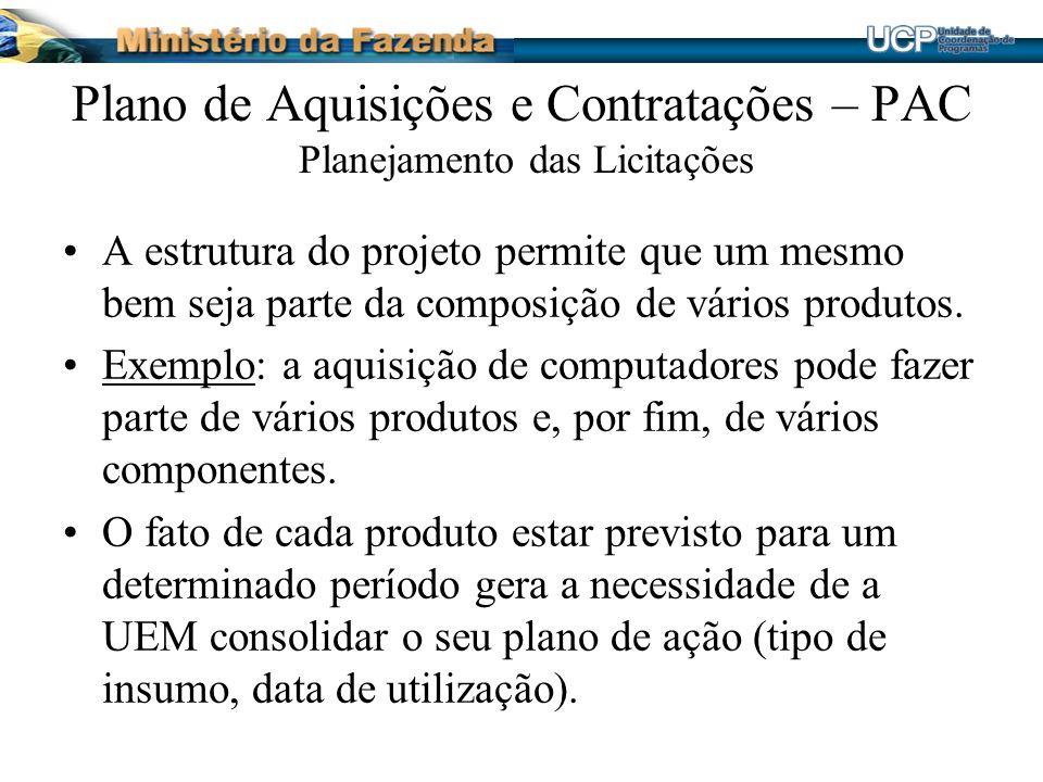Plano de Aquisições e Contratações – PAC Planejamento das Licitações A estrutura do projeto permite que um mesmo bem seja parte da composição de vários produtos.
