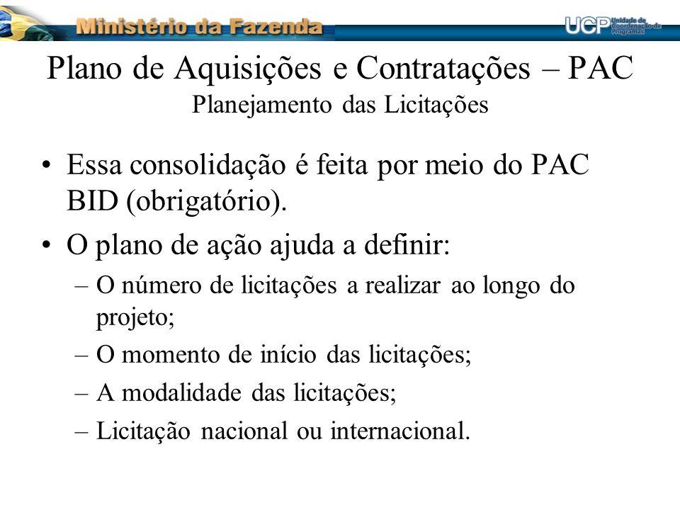 Plano de Aquisições e Contratações – PAC Planejamento das Licitações Essa consolidação é feita por meio do PAC BID (obrigatório).