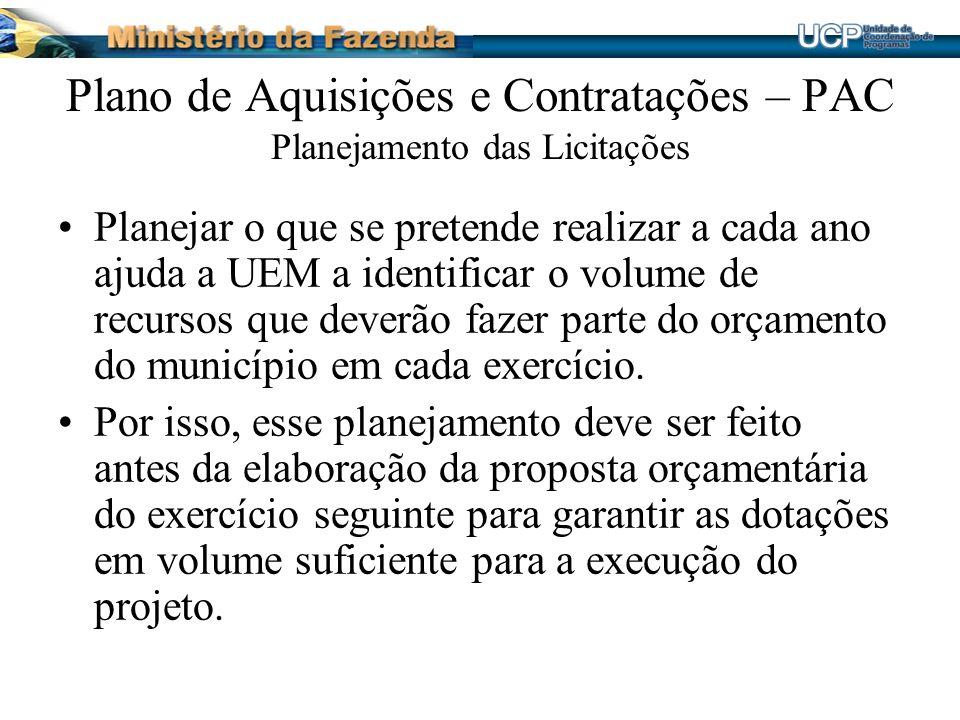 Plano de Aquisições e Contratações – PAC Planejamento das Licitações Planejar o que se pretende realizar a cada ano ajuda a UEM a identificar o volume de recursos que deverão fazer parte do orçamento do município em cada exercício.