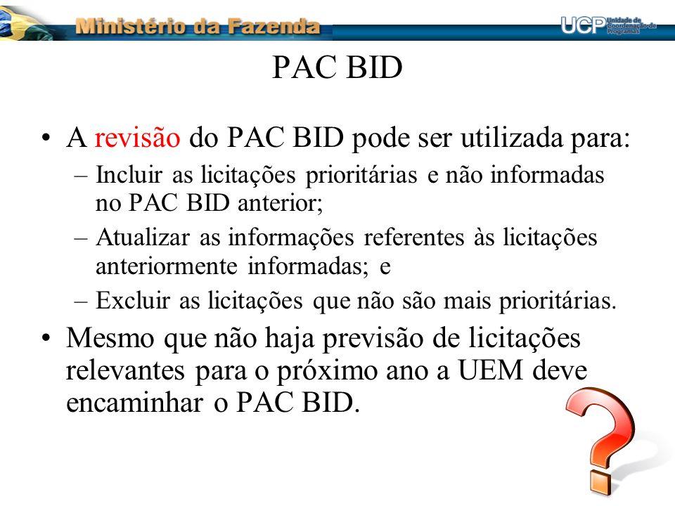 PAC BID A revisão do PAC BID pode ser utilizada para: –Incluir as licitações prioritárias e não informadas no PAC BID anterior; –Atualizar as informações referentes às licitações anteriormente informadas; e –Excluir as licitações que não são mais prioritárias.