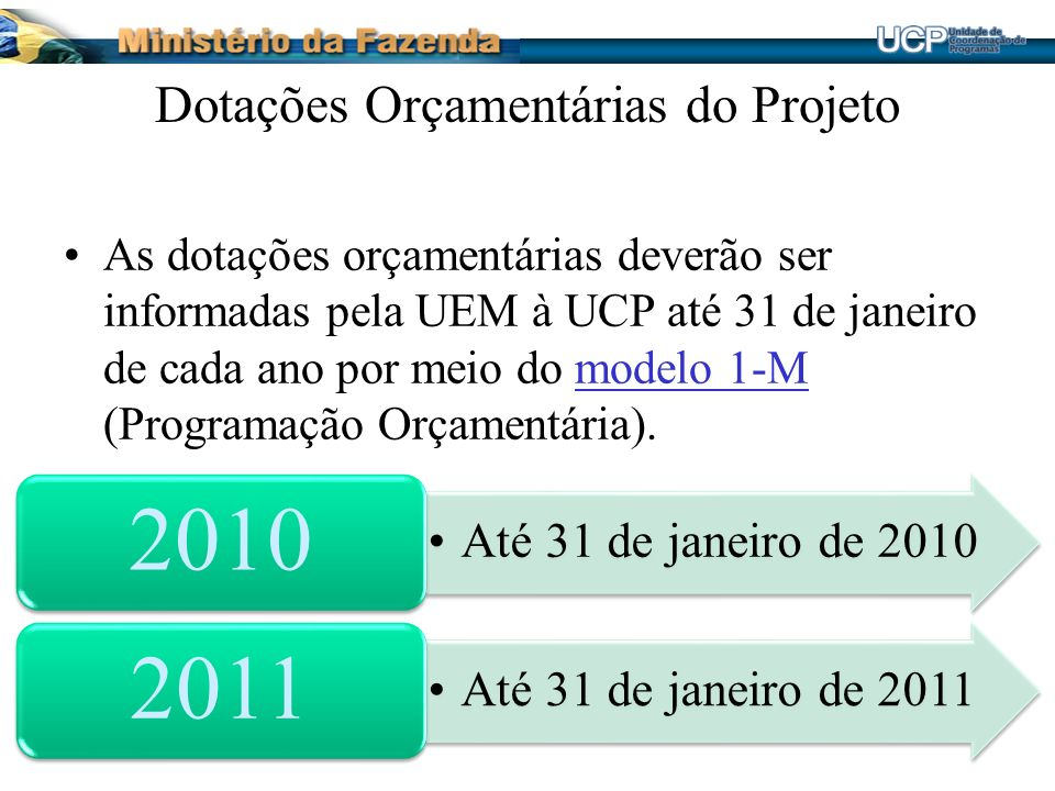 Dotações Orçamentárias do Projeto As dotações orçamentárias deverão ser informadas pela UEM à UCP até 31 de janeiro de cada ano por meio do modelo 1-M (Programação Orçamentária).modelo 1-M Até 31 de janeiro de 2010 2010 Até 31 de janeiro de 2011 2011