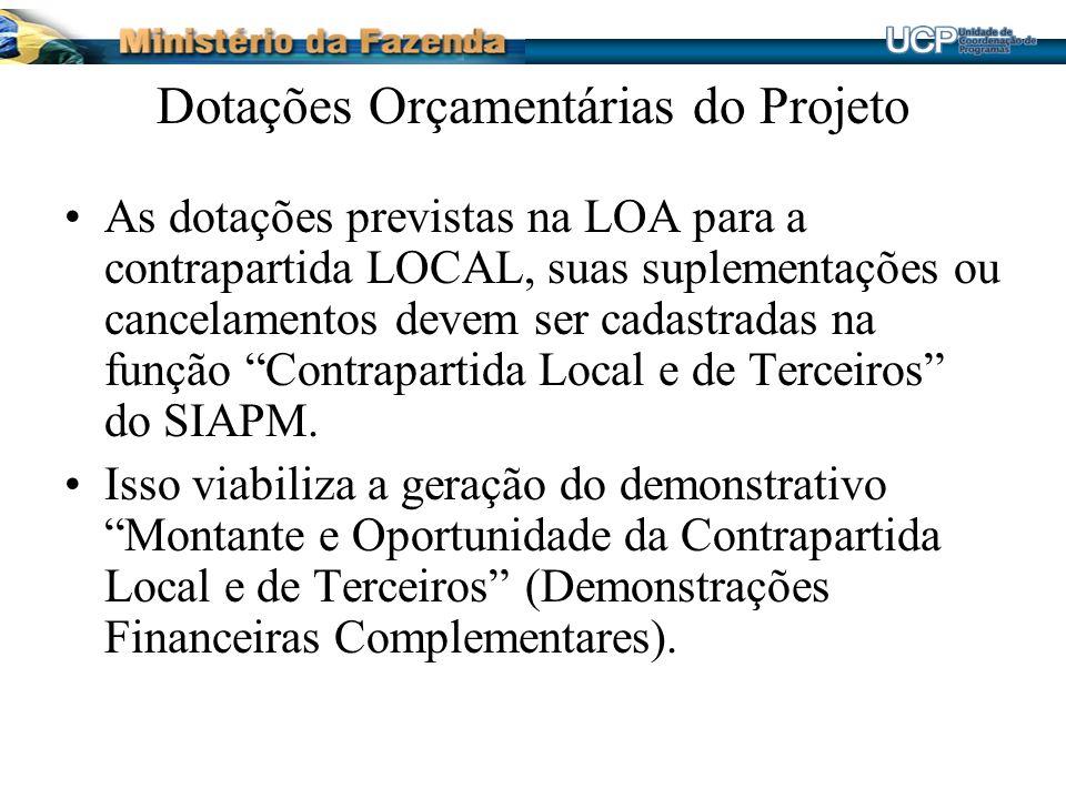 Dotações Orçamentárias do Projeto As dotações previstas na LOA para a contrapartida LOCAL, suas suplementações ou cancelamentos devem ser cadastradas na função Contrapartida Local e de Terceiros do SIAPM.