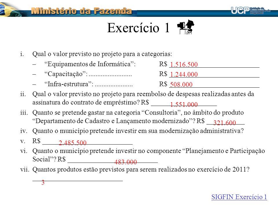 Exercício 1 i.Qual o valor previsto no projeto para a categorias: –Equipamentos de Informática:R$ __________________________ –Capacitação:.........................R$ __________________________ –Infra-estrutura:......................R$ __________________________ ii.Qual o valor previsto no projeto para reembolso de despesas realizadas antes da assinatura do contrato de empréstimo.