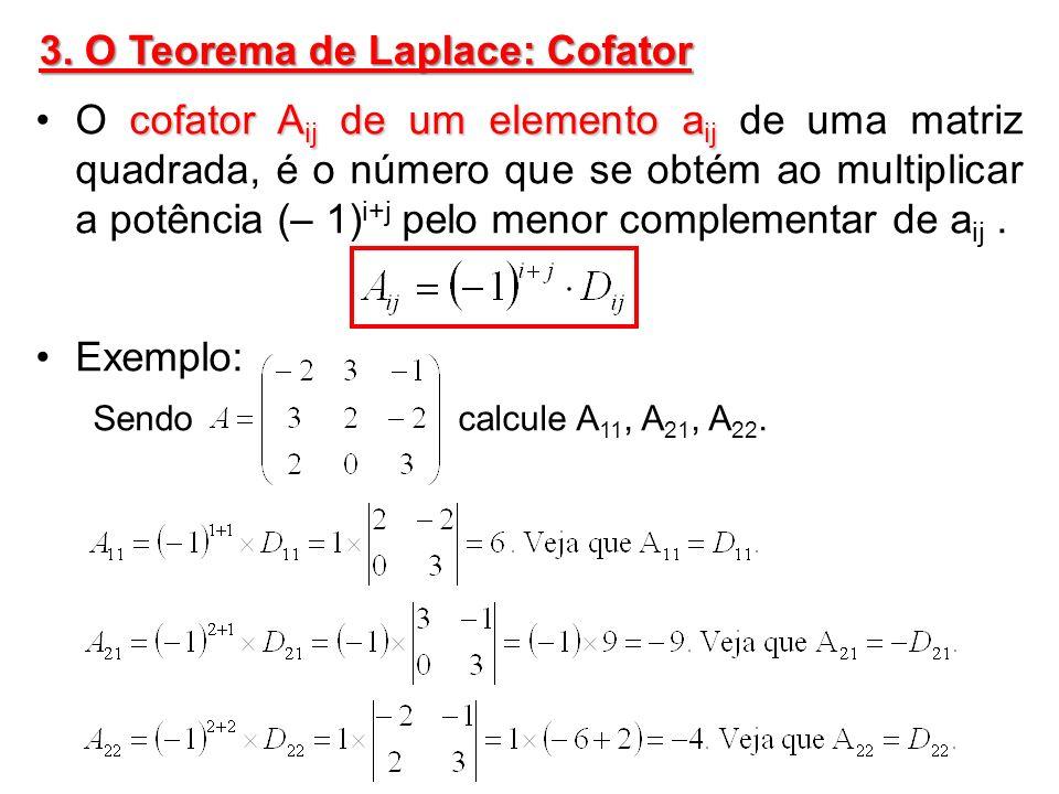 Exemplo: Sendo dada a matriz A, calcule: D 12, A 12, D 31 e A 31.