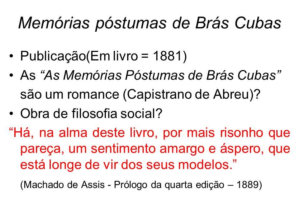 Memórias póstumas de Brás Cubas Publicação(Em livro = 1881) As As Memórias Póstumas de Brás Cubas são um romance (Capistrano de Abreu)? Obra de filoso