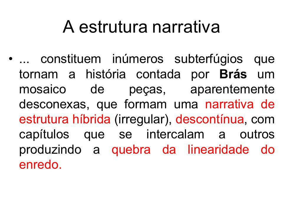 A estrutura narrativa... constituem inúmeros subterfúgios que tornam a história contada por Brás um mosaico de peças, aparentemente desconexas, que fo