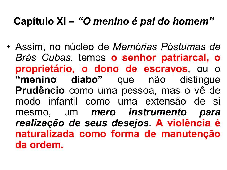 Capítulo XI – O menino é pai do homem Assim, no núcleo de Memórias Póstumas de Brás Cubas, temos o senhor patriarcal, o proprietário, o dono de escrav