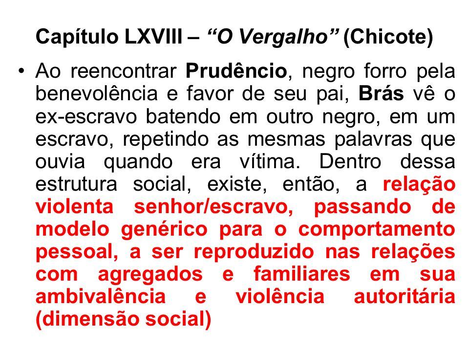 Capítulo LXVIII – O Vergalho (Chicote) Ao reencontrar Prudêncio, negro forro pela benevolência e favor de seu pai, Brás vê o ex-escravo batendo em out