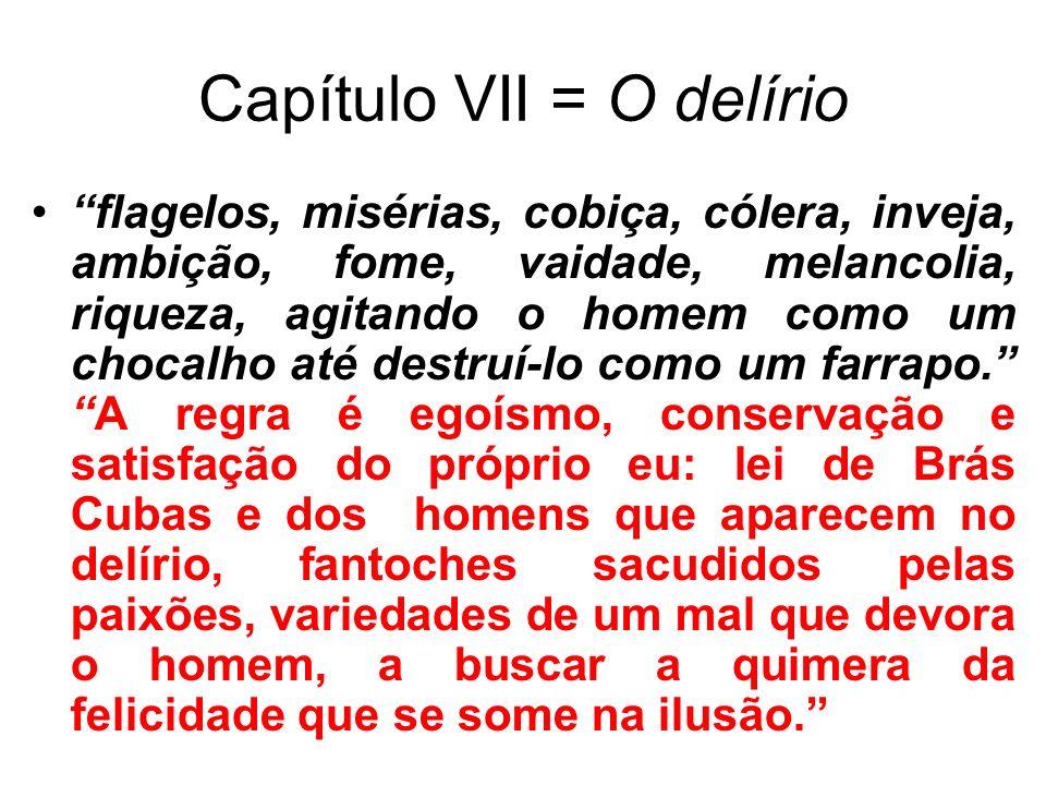 Capítulo VII = O delírio flagelos, misérias, cobiça, cólera, inveja, ambição, fome, vaidade, melancolia, riqueza, agitando o homem como um chocalho at