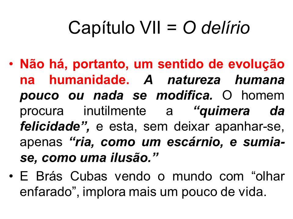 Capítulo VII = O delírio Não há, portanto, um sentido de evolução na humanidade. A natureza humana pouco ou nada se modifica. O homem procura inutilme