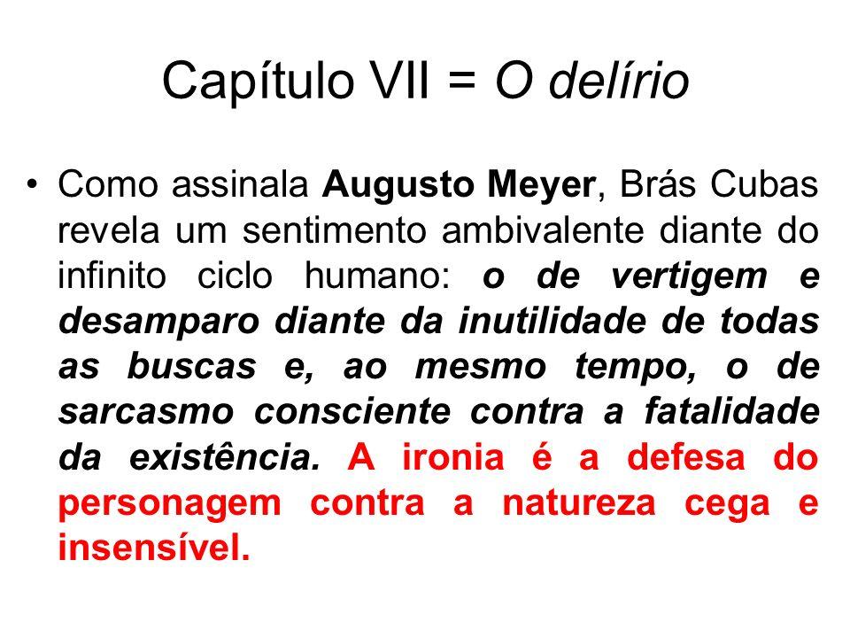 Capítulo VII = O delírio Como assinala Augusto Meyer, Brás Cubas revela um sentimento ambivalente diante do infinito ciclo humano: o de vertigem e desamparo diante da inutilidade de todas as buscas e, ao mesmo tempo, o de sarcasmo consciente contra a fatalidade da existência.