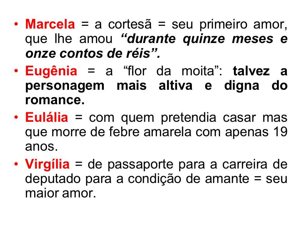 Marcela = a cortesã = seu primeiro amor, que lhe amou durante quinze meses e onze contos de réis. Eugênia = a flor da moita: talvez a personagem mais