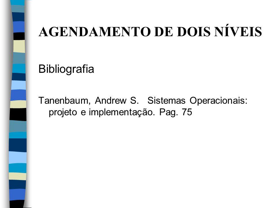 Bibliografia Tanenbaum, Andrew S. Sistemas Operacionais: projeto e implementação. Pag. 75 AGENDAMENTO DE DOIS NÍVEIS