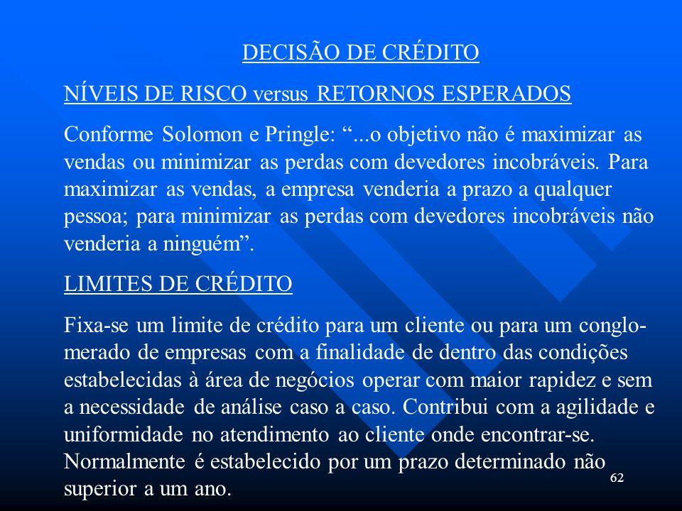 62 DECISÃO DE CRÉDITO NÍVEIS DE RISCO versus RETORNOS ESPERADOS Conforme Solomon e Pringle:...o objetivo não é maximizar as vendas ou minimizar as per