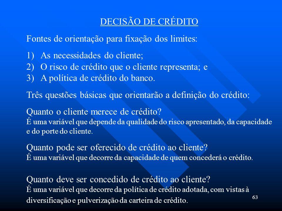 63 DECISÃO DE CRÉDITO Fontes de orientação para fixação dos limites: 1)As necessidades do cliente; 2)O risco de crédito que o cliente representa; e 3)