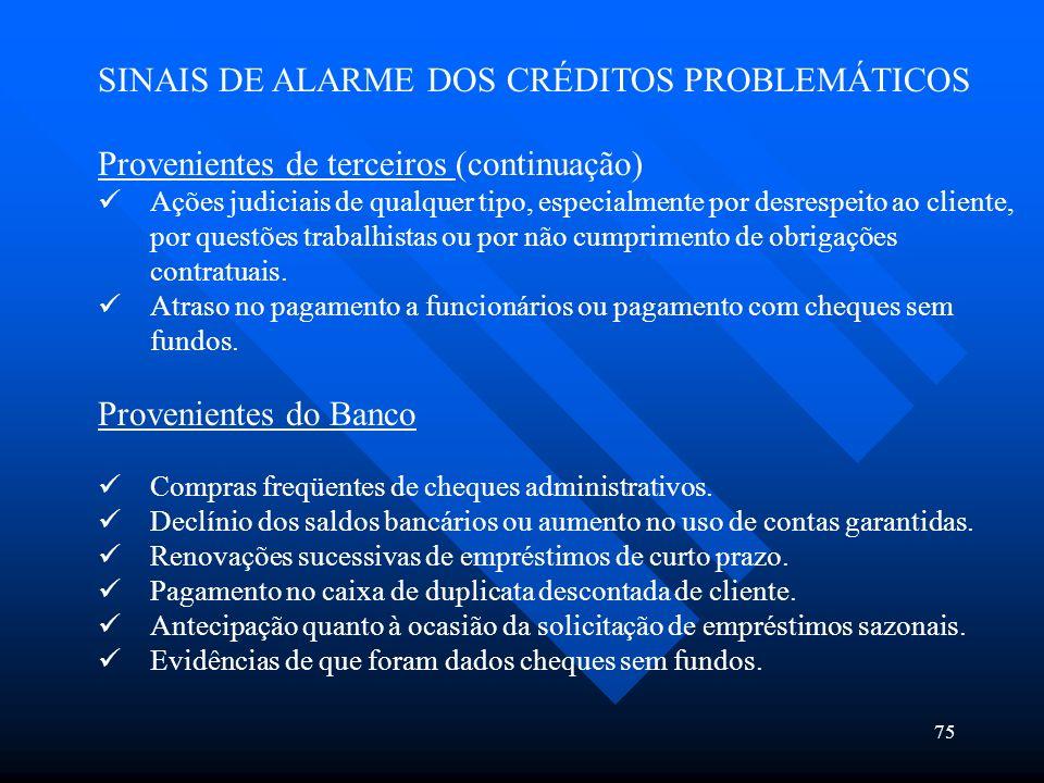 75 SINAIS DE ALARME DOS CRÉDITOS PROBLEMÁTICOS Provenientes de terceiros (continuação) Ações judiciais de qualquer tipo, especialmente por desrespeito