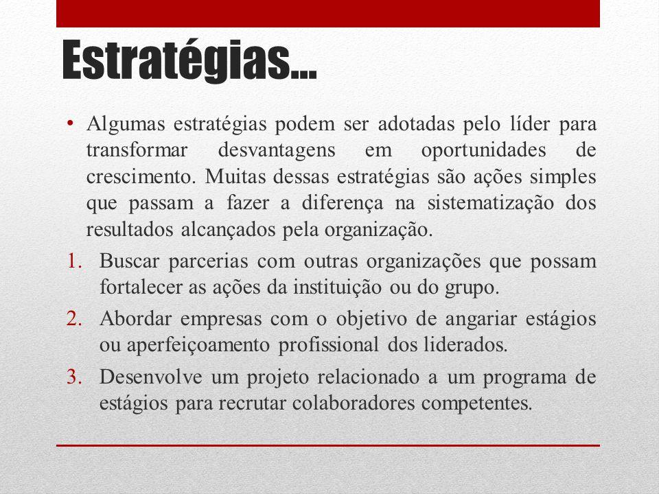 Estratégias... Algumas estratégias podem ser adotadas pelo líder para transformar desvantagens em oportunidades de crescimento. Muitas dessas estratég