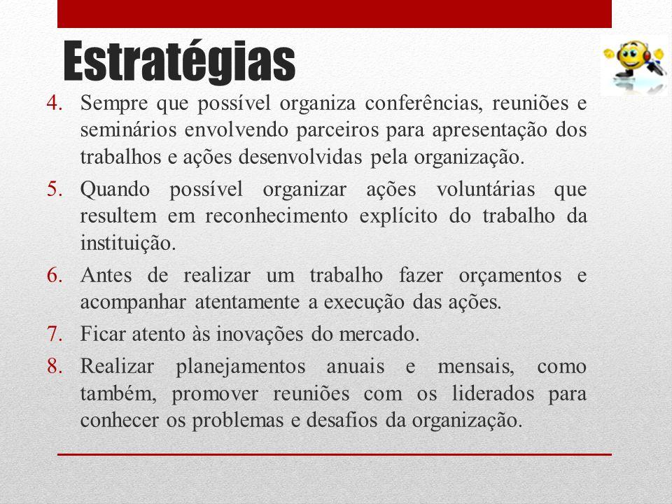 Estratégias 4.Sempre que possível organiza conferências, reuniões e seminários envolvendo parceiros para apresentação dos trabalhos e ações desenvolvi