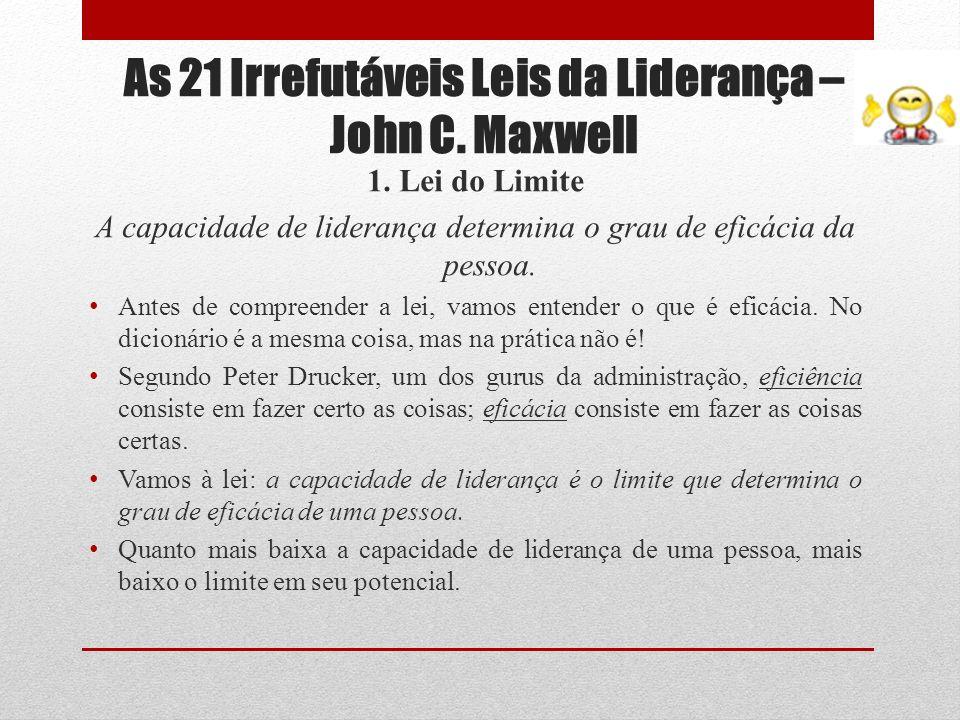 As 21 Irrefutáveis Leis da Liderança – John C. Maxwell 1. Lei do Limite A capacidade de liderança determina o grau de eficácia da pessoa. Antes de com