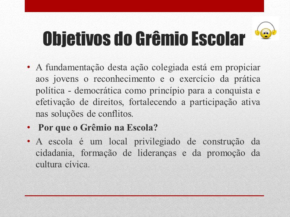 Objetivos do Grêmio Escolar A fundamentação desta ação colegiada está em propiciar aos jovens o reconhecimento e o exercício da prática política - dem